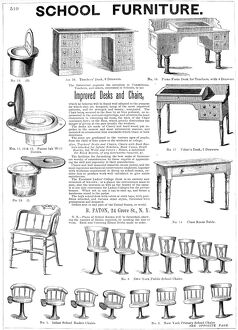 SCHOOL FURNITURE, 1855. American advertisement, 1855