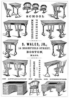 SCHOOL FURNITURE, 1860. American advertisement