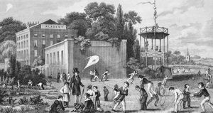 SCHOOL PLAYGROUND. Etching, English, mid-19th century
