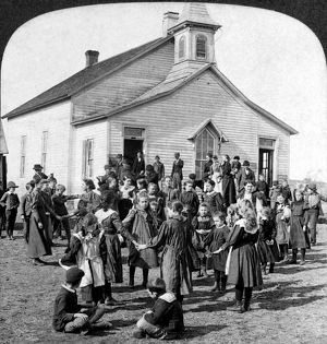 SCHOOL: RECESS, c1890. Students during recess at an American elementary school