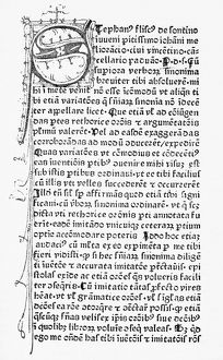 SCHOOLBOOK, 1478. Title page of a school book by Stephanus Fliscus de Soncino