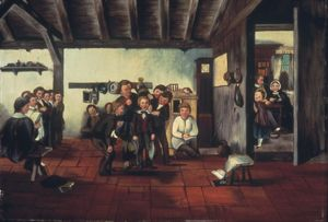 SCHOOLHOUSE, 1861. Interior of a schoolhouse: oil on canvas, 1861, by J.T. Child