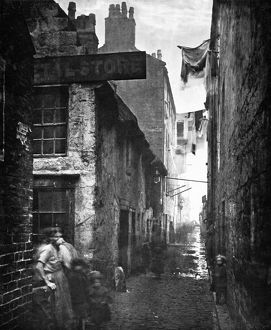 SCOTLAND: GLASGOW, 1868. Old Venel Close (alley) off High Street in Glasgow, Scotland