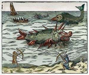 zoology/sea monster 16th century mariners battling sea