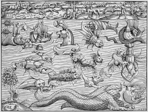 SEA MONSTERS, 1550. Sea monsters inhabiting the north Atlantic and animals found