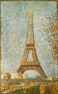 SEURAT: EIFFEL TOWER, 1889. Georges Seurat: The Eiffel Tower. Oil on panel, 1889.