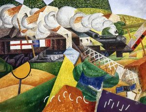 SEVERINI: RED CROSS TRAIN Passing a Village. Oil on canvas by Gino Severini, 1915.