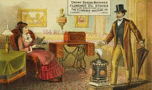 SEWING MACHINE AD, c1880. American merchant's trade card, c1880, for Crown Sewing