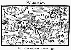 SHEPHERD, 1597. Month of November from 'The Shepherd's Calendar.' Woodcut