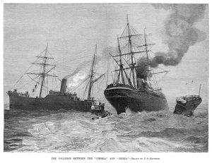 SHIP COLLISION, 1888. The collision between the ocean liners RMS Umbria of the Cunard Line