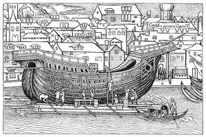 SHIPBUILDING, 1486. The construction of a large sailing ship in the Holy Land