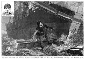 SHIPWRECK, 1887. Sailor John White (also shown in inset at upper left) standing
