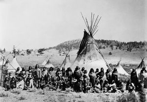 SHOSHONE, c1870. Chief Washakie and a group of Shoshone at their camp