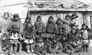 SIBERIA: ESKIMOS, c1897. A group of Eskimo school children posing in front of the