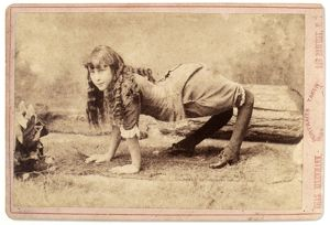 SIDESHOW: CAMEL GIRL, 1886. Sideshow pitch card featuring Ella Harper, the 'Camel Girl