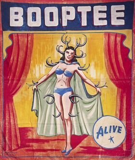 American sideshow poster featuring Booptee, the antlered pin-up girl, c1955.