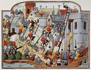 SIEGE, 15th CENTURY. Soldiers scaling the walls of a city during an attack