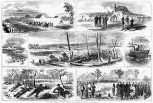 SIEGE OF YORKTOWN, 1862. 'Our army before Yorktown, Virginia.' Wood engravings