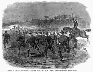 SIEGE OF YORKTOWN, 1862. 'Charge of the First Massachusetts regiment on a rebel