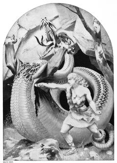 SIEGFRIED SLAYING DRAGON. Photogravure, late 19th century, after a painting by Konrad