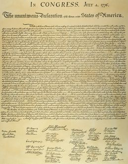 Signed copy of the Declaration of Independence, 4 July 1776