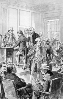 Signing of the Declaration of Independence on 4 July 1776. Drawing by Henry A. Ogden