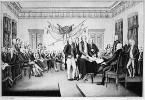 The signing of the Declaration of Independence in Congress at the Independence Hall