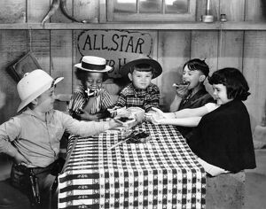 SILENT FILM: LITTLE RASCALS. Our Gang, Little Rascals. Spanky, Buckwheat, Mickey, Alfalfa and Darla left to right.