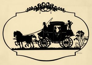 SILHOUETTE, c1900. Silhouette of a couple in a carriage. Cut paper by Blecke, c1900