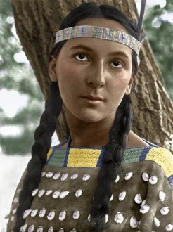 digitally colorized/sioux woman c1907 portrait lucille sioux woman