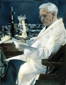 SIR ALEXANDER FLEMING (1881-1955) in his last laboratory at the Wright Fleming Institute