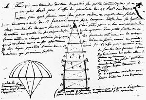 A sketch for a parachute, 1784, from a letter by the Marquis de Brantes to Joseph