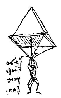 Sketch of a parachute, c1485, by Leonardo da Vinci.