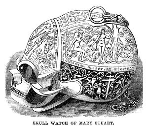 SKULL WATCH. Skull watch owned by Mary, Queen of Scots. Engraving, American, 1869