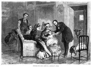 SMALLPOX VACCINE, 1871. An upper class family receiving the smallpox vaccine, 1871