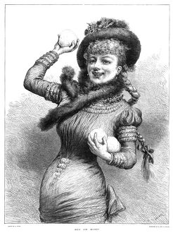 SNOWBALL FIGHT, 1881. 'Hit or Miss?' A woman playing in a snowball fight