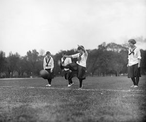 SOCCER, c1920. Young women playing soccer. Photograph, c1920