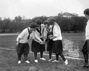 SOCCER, c1920. Young women on a soccer field. Photograph, c1920