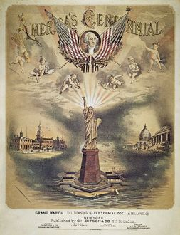 SONG SHEET COVER, 1876. 'America's Centennial': American song sheet cover