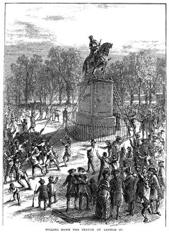 Sons of Liberty pulling down the statue of George III in New York after the reading