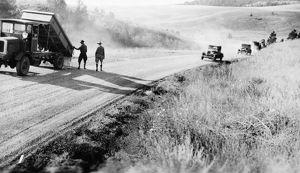 SOUTH DAKOTA: ROADS, 1932. Highway construction in Hot Springs, South Dakota. Photograph