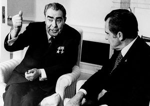 Soviet political leader. Brezhnev at a White House meeting with President Richard Nixon