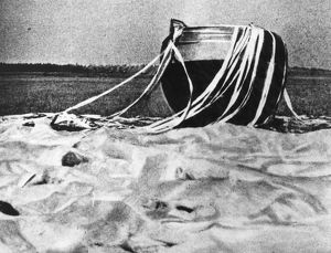 The Soviet spacecraft, Venus 4, after a parachute landing on Earth during tests before