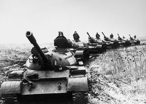 Soviet tanks during a tactical exercise, 2 July 1978.