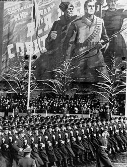 Soviet troops marching during a parade celebrating the 52nd anniversary of the October Revolution