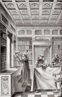 SPAIN: MONKS, 18TH CENTURY. Monks and books in a library