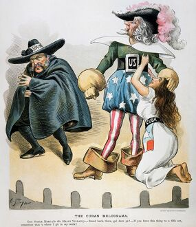 SPANISH-AMERICAN WAR, 1896. 'The Cuban Melodrama.' American cartoon by C