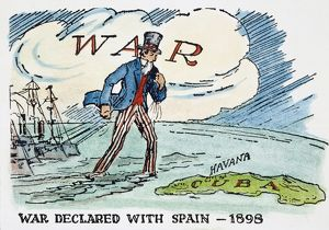 SPANISH-AMERICAN WAR, 1898. Uncle Sam towing battleships to Cuba: an early 20th century