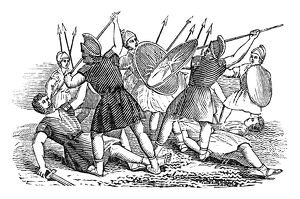 SPARTAN WARRIORS. Engraving from 'The History of Sandford and Merton,' by