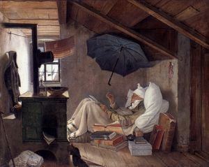 SPITZWEG: POOR POET, 1839. The Poor Poet, by Carl Spitzweg. Oil on canvas, 1839.